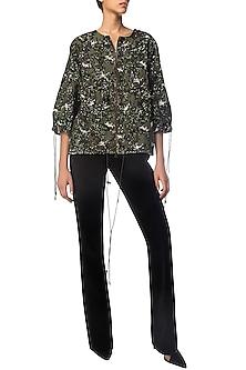 Olive Camo Sequins Jacket by Siddartha Tytler