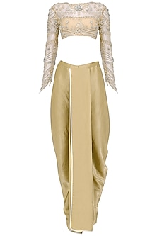 Nude Embroidered Blouse with Dhoti Pants Set by Siddartha Tytler
