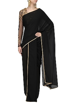 Black Dhoti Saree with Blouse by Siddartha Tytler