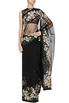 Black Embroidered Saree and Blouse by Siddartha Tytler