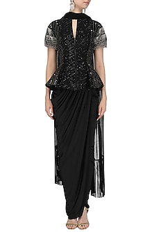 Black Embroidered Gown by Siddartha Tytler