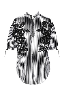 Black and White Striped Patch Work Top by Siddartha Tytler
