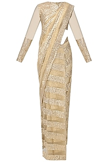 Gold Gota Patti Embellished Saree with Blouse by Siddartha Tytler