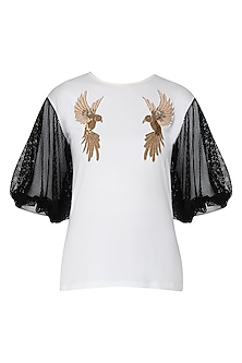 White and Black Bird Motifs Embellished Top by Siddartha Tytler