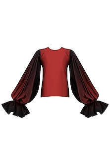 Red To Black Ombre Balloon Sleeves Top by Siddartha Tytler