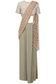 Grey and Gold Pre-Stitched Saree with Embellished Blouse by Siddartha Tytler