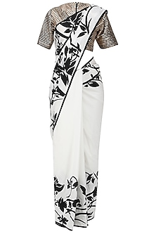 Black and White Applique Work Saree with Embroidered Blouse by Siddartha Tytler