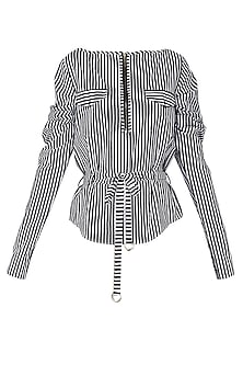 Black and White Striped Patch Work Shirt by Siddartha Tytler