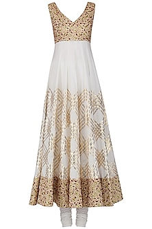 Ivory and Maroon Gota Patti Embroidered Anarkali Set by Siddartha Tytler