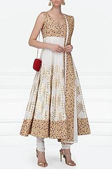 Ivory and Maroon Gota Patti Embroidered Anarkali Set by Siddartha Tytler