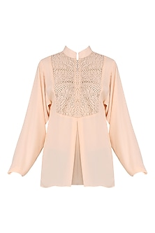 Peach Box Pleats Embellished Top by Siddartha Tytler