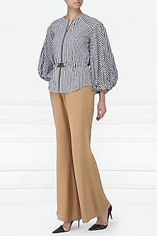 Black and White Striped Front Open Shirt by Siddartha Tytler