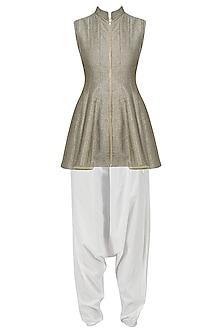 Grey Front Open Short Kurta with White Dhoti Pants Set by Siddartha Tytler