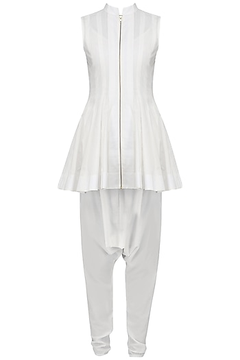 White Front Open Short Kurta with Dhoti Pants Set by Siddartha Tytler