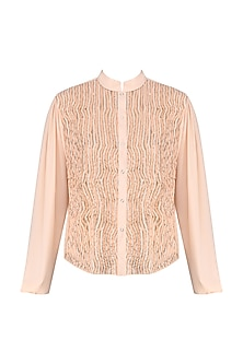 Peach Embellished Laser Cut Shirt by Siddartha Tytler