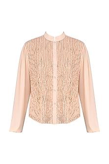 Peach Embellished Laser Cut Shirt by Siddartha Tytler