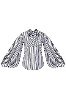 Black and White Striped Balloon Sleeves Shirt by Siddartha Tytler
