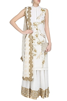 Ivory and Gold Cherry Blossoms Embroidered Kurta with Sharara Pants by Siddartha Tytler