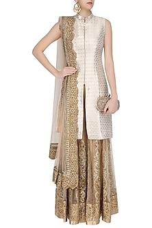 Gold Brocade Jacket Kurta and Sharara Pants Set by Siddartha Tytler