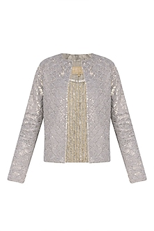 Gold Sequins and Crystal Embroidered Front Open Jacket by Siddartha Tytler