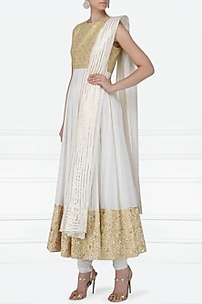 Ivory and Beige Gota Patti Embroidered Anarkali Set by Siddartha Tytler
