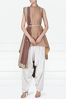 Dark Peach Embroidered High-Low Kurta with White Dhoti Pants Set by Siddartha Tytler