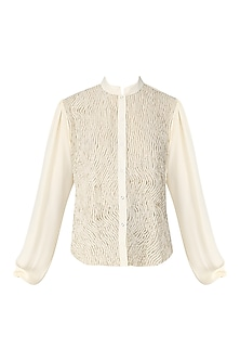 Off White Embellished Laser Cut Shirt by Siddartha Tytler