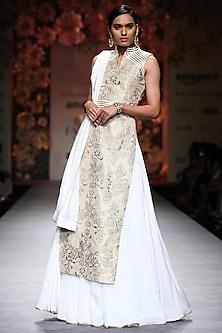 Cream and White Applique Work Lehenga Set by Siddartha Tytler