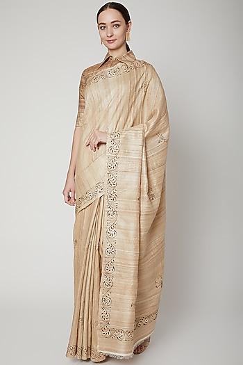 Beige Pattachitra Painted Saree Set by SUTA