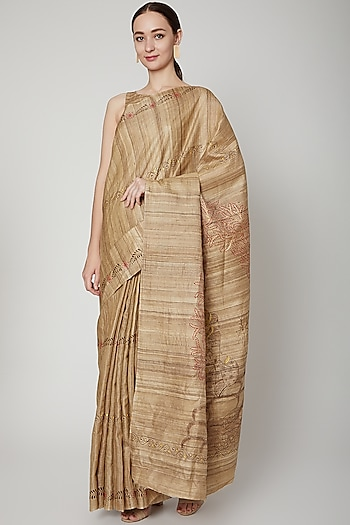 Beige Handwoven Tussar Silk Saree Set by SUTA