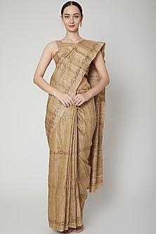 Beige Handwoven Tussar Silk Saree Set by SUTA