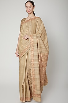 Beige Hand Painted Tussar Silk Saree Set by SUTA
