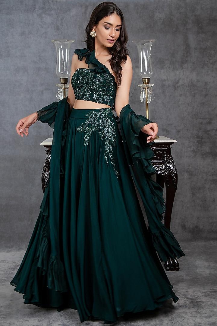 Dark Green Viscose Organza Lehenga Set by Sunita Bhandari
