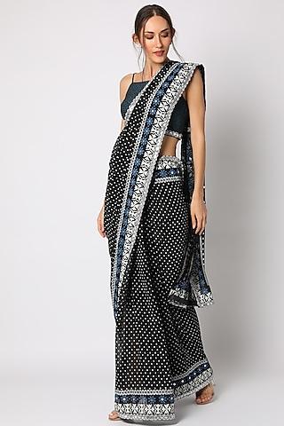 Black Block Printed & Hand Embellished Saree Set by Surbhi Gupta