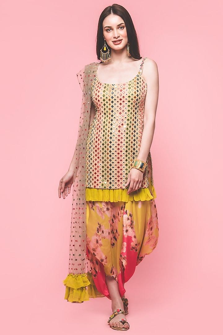 Multi Colored Embroidered Kurta Set by Surabhi Gandhi