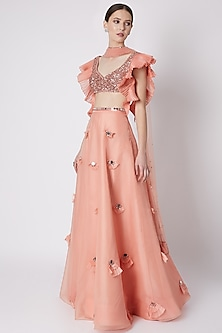 Salmon Peach Embroidered Lehenga Set by Supria Munjal