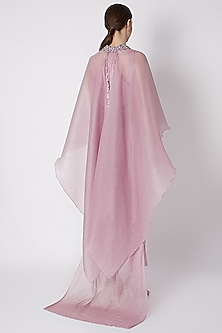 Snow Lilac Embroidered Collared Cape Set by Supria Munjal