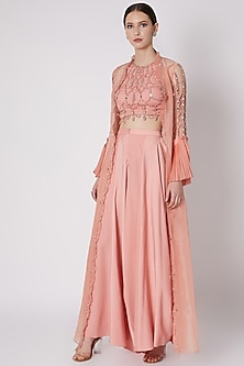 Salmon Peach Embroidered Cape Set by Supria Munjal