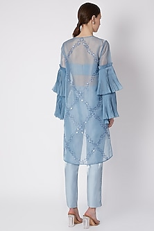 Sky Blue Embroidered Cape Set by Supria Munjal