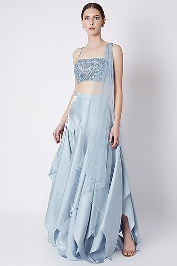 Sky Blue Embroidered Skirt Set by Supria Munjal