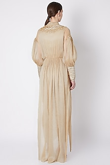 Gold Embroidered Dress With Pants by Supria Munjal