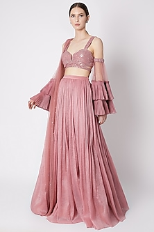 Dusty Rose Pink Embroidered Skirt Set by Supria Munjal