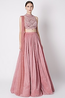Blush Pink Embroidered Skirt Set by Supria Munjal