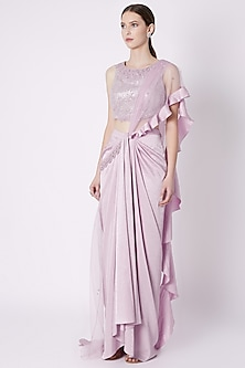 Snow Lilac Embroidered Pre-Stitched Saree Set by Supria Munjal