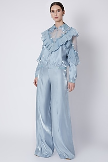 Sky Blue Embroidered Jacket With Palazzo Pants by Supria Munjal