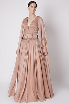 Nude Embroidered Ruched Gown by Supria Munjal