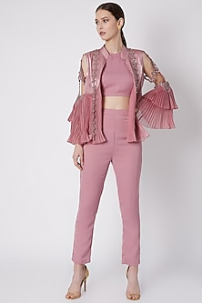 Dusty Pink Embroidered Jacket Set by Supria Munjal