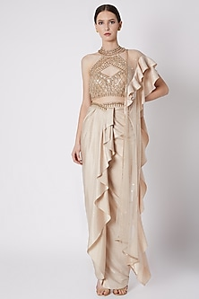 Gold Embroidered Draped Skirt Set by Supria Munjal