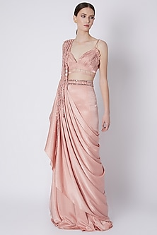 Nude Embroidered Draped Saree Set With Belt by Supria Munjal