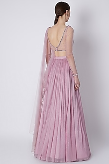 Snow Lilac Embroidered Skirt Set by Supria Munjal